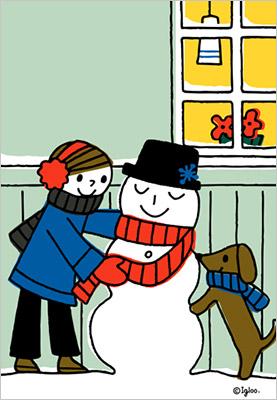 ワンちゃんと女の子と雪だるま 冬の楽しさ伝わります