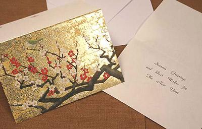 和風クリスマスカード 梅と鶯ゴールド