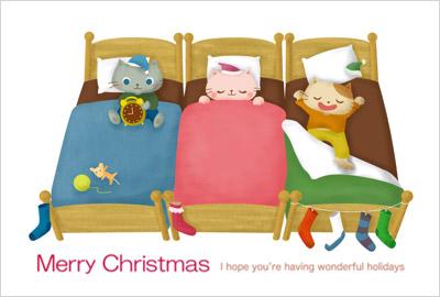 ポップなイラストがかわいい、個性豊かなクリスマスカード