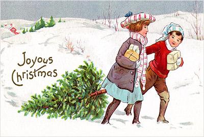 子ども達が、雪景色の中モミの木を運んでいるデザイン。