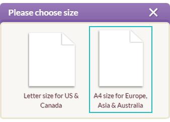 右のA4サイズを選択